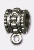 10x6mm Antiqued Silver Plated Wide Bail To Attach Charm Bead - European Style Large Hole x2