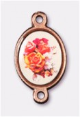 15x13mm Bouquet Of Mix Flowers 2-Ring Oval Spacer Enamel On Antiqued Pink Copper Tone Base x1