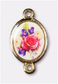 15x13mm Bouquet Of Mix Flowers 2-Ring Oval Spacer Enamel On Antiqued Gold Tone Base x1