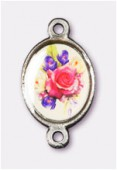 15x13mm Bouquet Of Mix Flowers 2-Ring Oval Spacer Enamel On Antiqued Silver Tone Base x1