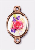 15x13mm Bouquet Of Mix Flowers 2-Ring Oval Spacer Enamel On Antiqued Copper Tone Base x1