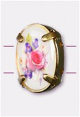 16x12mm Bouquet Of Mix Flowers 2-Hole Oval Spacer Enamel In Gold Tone Setting x1
