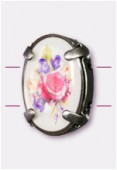 16x12mm Bouquet Of Mix Flowers 2-Hole Oval Spacer Enamel In Antiqued Silver Tone Setting x1
