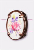 16x12mm Bouquet Of Mix Flowers 2-Hole Oval Spacer Enamel In Antiqued Copper Tone Setting x1