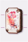19x13mm Bouquet Of Mix Flowers 2-Hole Rectangle Spacer Enamel In Antiqued Copper Tone Setting x1