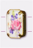 19x13mm Bouquet Of Mix Flowers 2-Hole Rectangle Spacer Enamel In Gold Tone Setting x1
