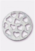 33mm Silver Plated Open Work Heart Pendant x1
