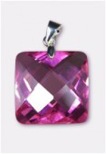 18mm Pink Cubic Zirconia Faceted Square Pendant W / Silver Plated Bail x1
