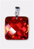 18mm Red Cubic Zirconia Faceted Square Pendant W / Silver Plated Bail x1