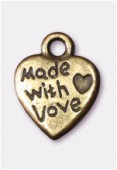 12x9mm Antiqued Brass Plated Heart With love Charms Pendant x4