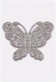 50x38mm Silver Color Coated Brass Filigree Stamping Butterfly x1