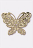 50x38mm Gold Color Coated Brass Filigree Stamping Butterfly x1