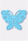 50x38mm Turquoise Color Coated Brass Filigree Stamping Butterfly x1