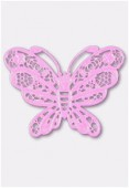 50x38mm Pink Color Coated Brass Filigree Stamping Butterfly x1