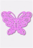 50x38mm Mallow Color Coated Brass Filigree Stamping Butterfly x1