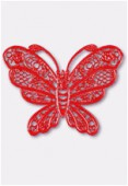 50x38mm Red Color Coated Brass Filigree Stamping Butterfly x1