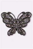 35x25mm Black Color Coated Brass Filigree Stamping Butterfly x1