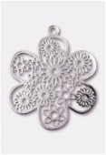 27mm Silver Color Coated Brass Filigree Stamping Flower x1
