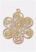 27mm Gold Color Coated Brass Filigree Stamping Flower x1