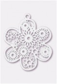 27mm White Color Coated Brass Filigree Stamping Flower x1