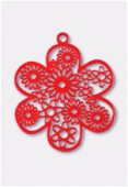 27mm Red Color Coated Brass Filigree Stamping Flower x1