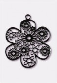 27mm Black Color Coated Brass Filigree Stamping Flower x1