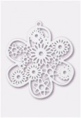 50mm White Color Coated Brass Filigree Stamping Flower x1