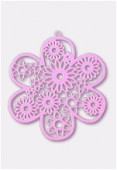 50mm Pink Color Coated Brass Filigree Stamping Flower x1
