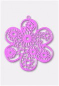 50mm Mallow Color Coated Brass Filigree Stamping Flower x1
