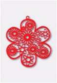 50mm Red Color Coated Brass Filigree Stamping Flower x1