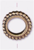 13mm Antiqued Brass Plated Granulated Ring Beads x1