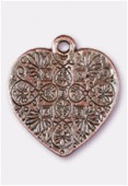 23x20mm Antiqued Copper Plated Heart Charms Pendant x1