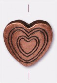13x13mm Antiqued Copper Plated Heart Bead x1