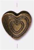 13x13mm Antiqued Brass Plated Heart Bead x1