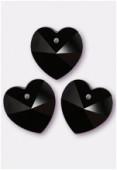 18x17.5mm Swarovski Crystal 6228 Heart Pendant Jet x1