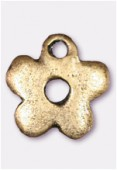 10mm Antiqued Brass Plated Little Flower Charms Pendant x2