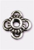 10x6mm Antiqued Silver Plated Flower Spacer Beads x2