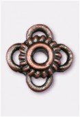 10x6mm Antiqued Copper Plated Flower Spacer Beads x2