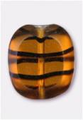 14x12mm Tortoise Shell Czech Glass Table Cut Cushion Window Beads x4