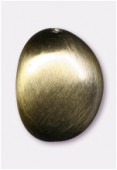 24x19mm Flat Oval Brushed Satin Bronze x1