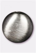 17x8mm Flat Coin Brushed Satin Silver x1