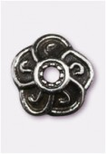 9mm Antiqued Silver Plated Bead Caps x2