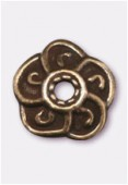 9mm Antiqued Brass Plated Bead Caps x2