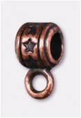 8x4mm Antiqued Copper Plated Wide Bail To Attach Charm Bead - European Style Large Hole x4