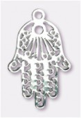 27x17mm Silver Color Coated Brass Filigree Metallized Stamping Hamsa x1