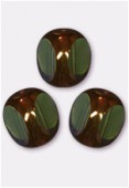 10mm Olivine - Bronze Antique Czech 3-Cut Picasso x6