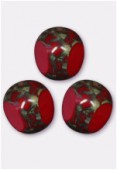 10mm Blue Red - Bronze Antique Czech 3-Cut Picasso x6