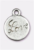 13mm Antiqued Silver Plated Love Charms Pendant x2