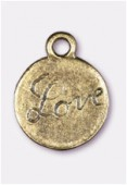 13mm Antiqued Brass Plated Love Charms Pendant x2