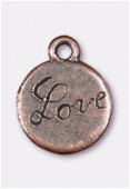 13mm Antiqued Copper Plated Love Charms Pendant x2
